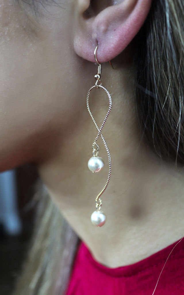 Gold Pearl Drop Snake Design Earrings by Always Chic