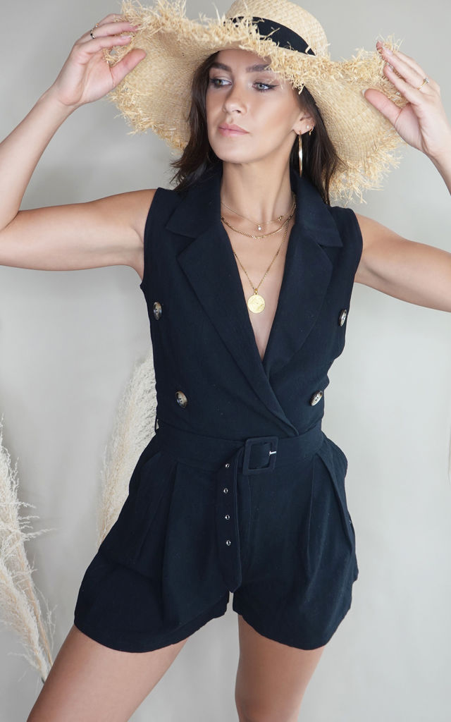 Nomi Black Safari Belted Playsuit by Lavand Stories