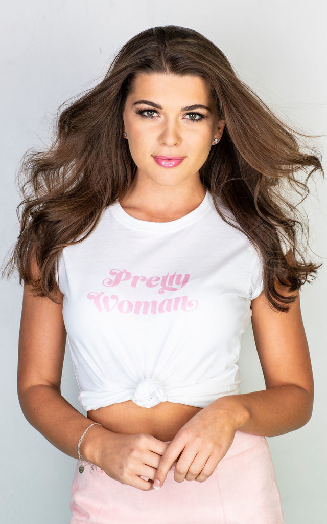 Pretty Woman slogan t shirt in pink and white by GET IT GRL