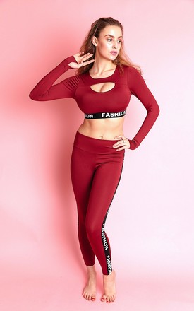 AYA GYM LOUNGEWEAR CO-ORD SET in OXBLOOD Red by IVY EKONG FASHION