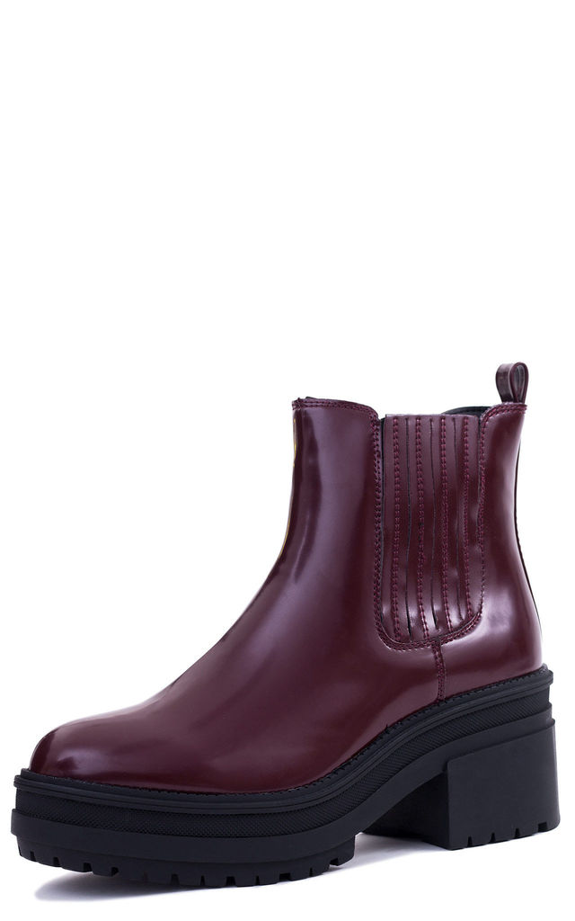 FLORENCIA Platform Ankle Boots in Burgundy Faux Leather by SpyLoveBuy