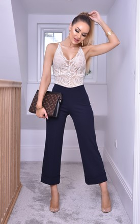 Simba High Waisted Cropped Trousers in Navy by Missfiga
