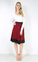 High Waist Scuba Paneled Skater Skirt by Oops Fashion
