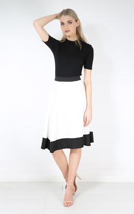 Monochrome High Waist Scuba Paneled Skater Skirt by Oops Fashion
