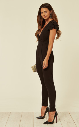 Callie Black Frill Sleeve V Neck Jumpsuit by WalG