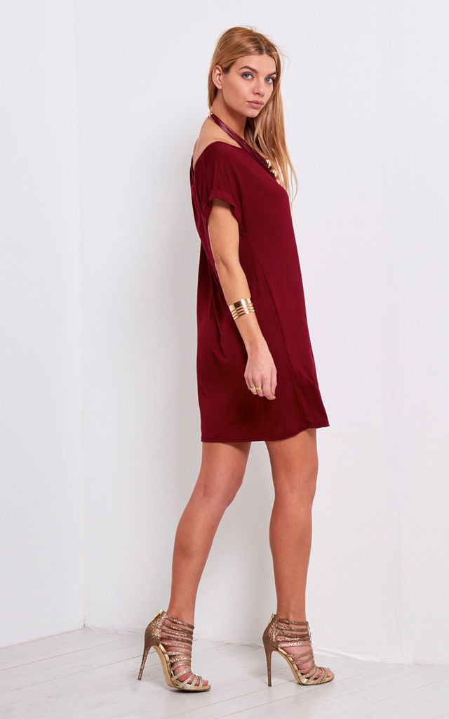 Wine Off Shoulder Oversized Jersey Tshirt Dress by Oops Fashion