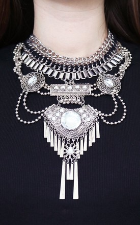 Kyra Statement Necklace In Silver by AVAAYA Product photo