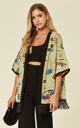 Green Floral Short Sleeve Kimono by Oeuvre