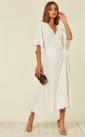 Kimono Sleeve Long Midi Wrap Dress In White by Liquorish Product photo