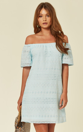 Blue Bardot Embroidered Dress by Oeuvre Product photo