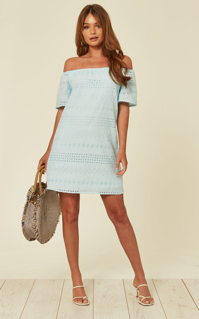 Blue Bardot Embroidered Dress by Oeuvre