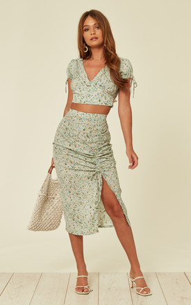 8d066f13d6b8 Crop Top And Midi Skirt Co Ord Set In Green Ditsy Floral Print