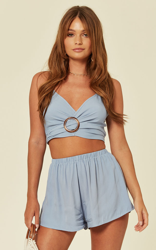 Two Piece Shorts and Crop Top Co-ord in Light Blue by Oeuvre