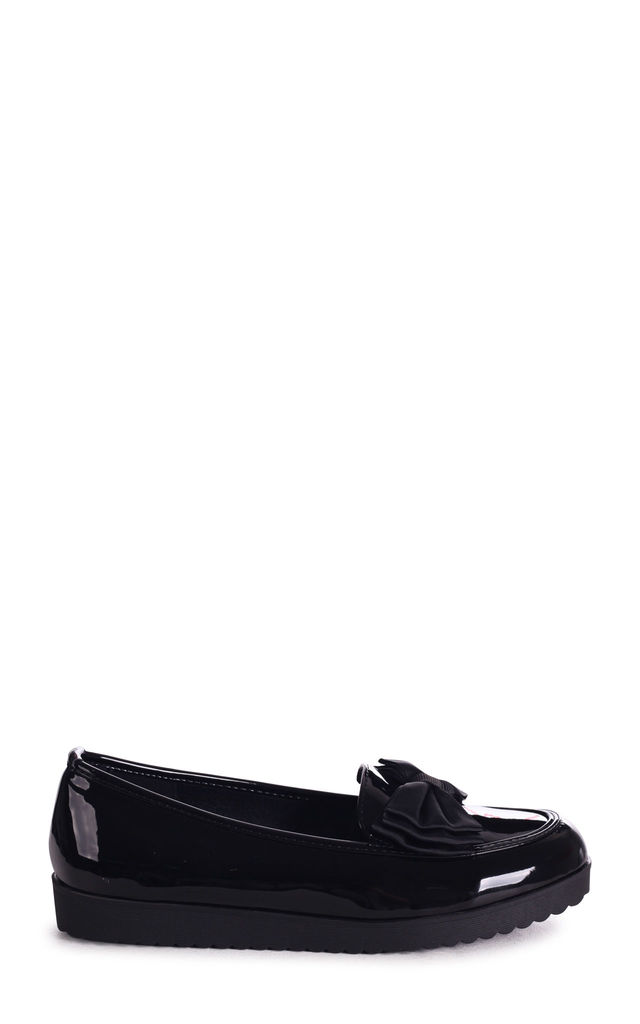 Carri Black Patent Chunky Slip On Shoe with Fabric Bow by Linzi