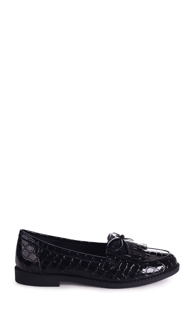 Carleen Black Croc Patent Classic Loafer with Bow Detailing & Fringing by Linzi