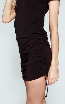 """DayDress"" Jersey Gathered Dress in Black by Awfully Pretty"