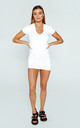 """DayDress"" Jersey Gathered Dress in White by Awfully Pretty"
