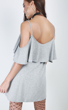 Grey Strappy Off Shoulder Frill Mini Dress by Oops Fashion