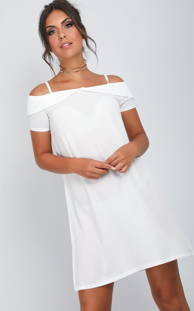 Cold Shoulder A-line Mini Dress in White by Oops Fashion