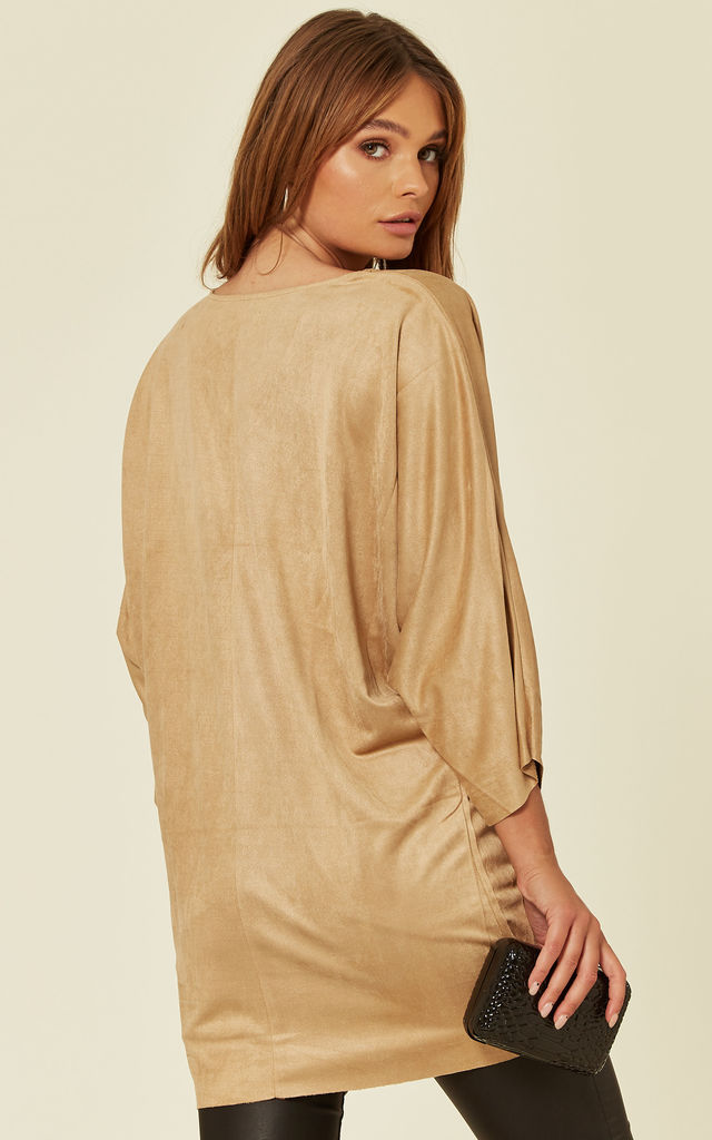 MOCK SUEDE V NECK TOP IN CAMEL by Malissa J Collection