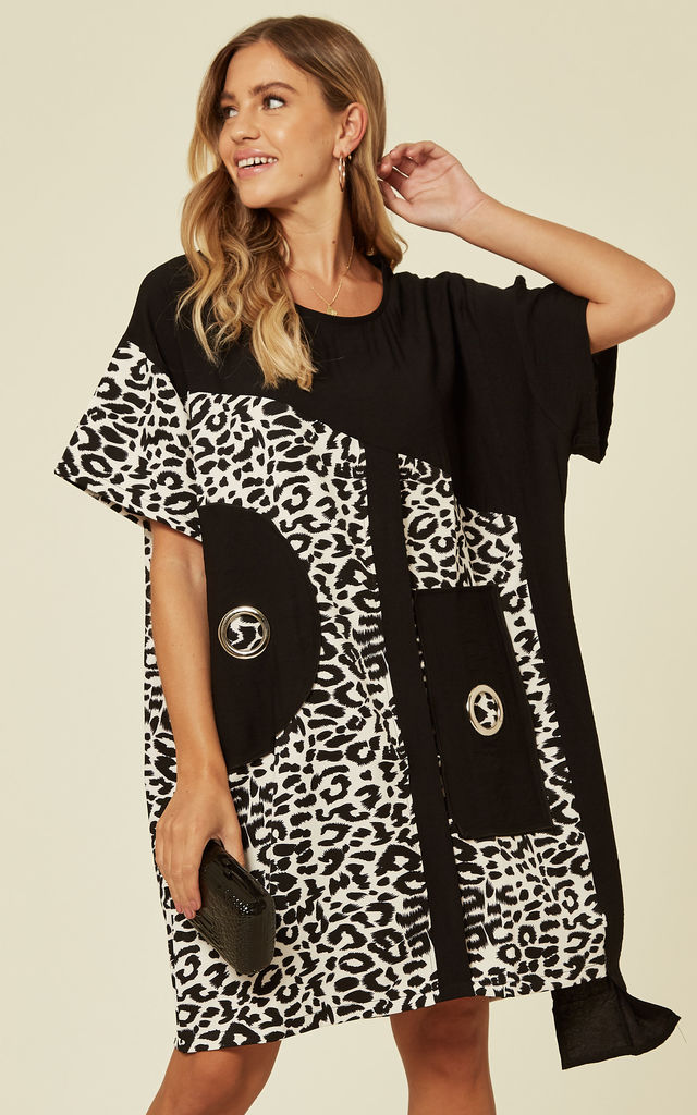 Oversized Eyelet Dress in Leopard Print/Black by Malissa J Collection