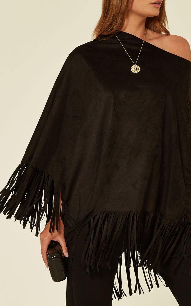 MOCK SUEDE TASSEL PONCHO TOP IN BLACK by Malissa J Collection