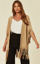MOCK SUEDE JACKET WITH FRINGING IN CAMEL by Malissa J Collection