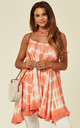 Tie Dye Swing Vest Top in Coral by Malissa J Collection