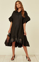 Large Eyelet Detail Shirt Dress in Black by Malissa J Collection