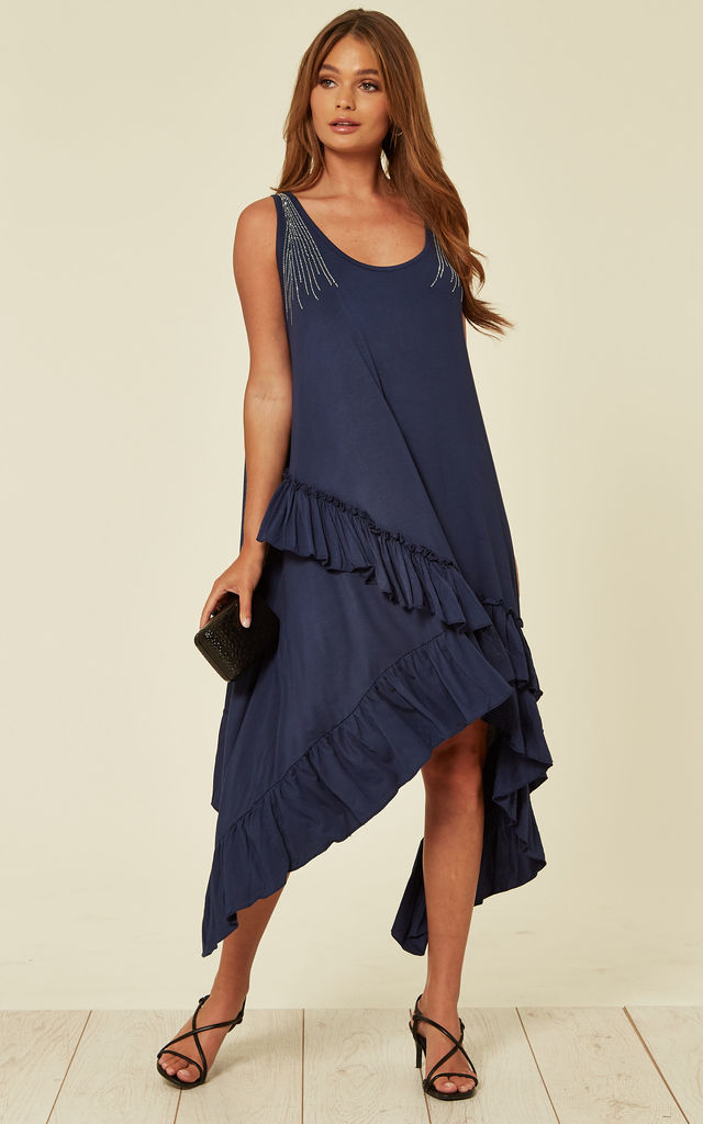 Multi Frill Dress with Diamante Strap Detail in Navy by Malissa J Collection
