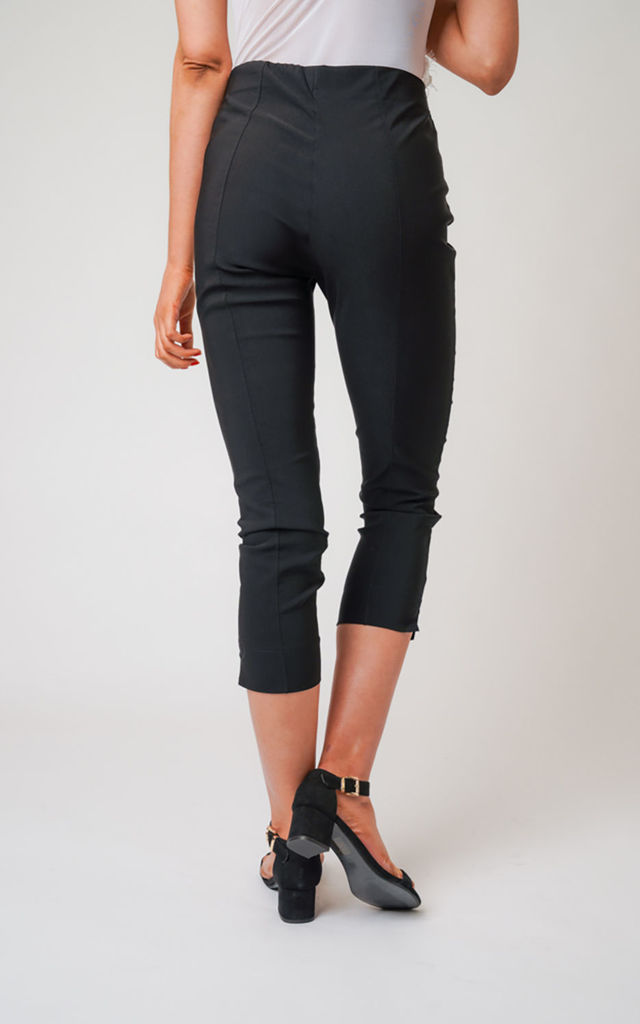 Black Pull On Skinny Fit Stretch Cropped Trousers by Lady Love London