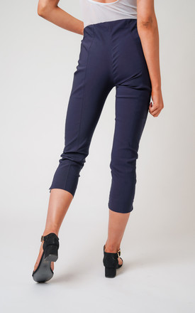 Navy Pull On Skinny Fit Stretch Cropped Trousers by Lady Love London