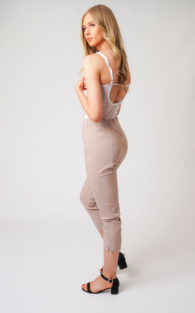 Nude Pull On Skinny Fit Stretch Cropped Trousers by Lady Love London