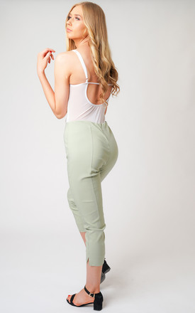 Pull On Skinny Fit Stretch Cropped Trousers In Light Green by Lady Love London