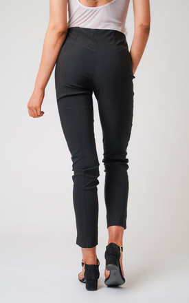 Black Pull On Skinny Fit Stretch Trousers by Lady Love London