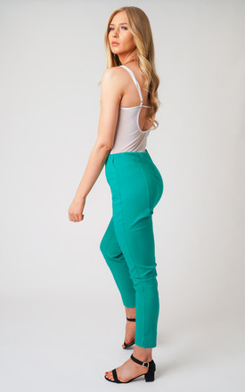 Green Pull On Skinny Fit Stretch Trousers by Lady Love London