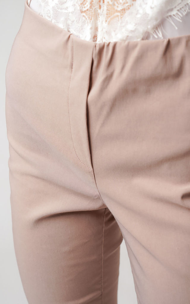 Nude Pull On Skinny Fit Stretch Trousers by Lady Love London