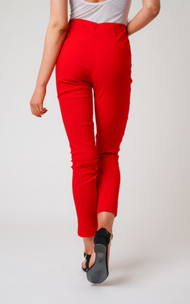 Red Pull On Skinny Fit Stretch Trousers by Lady Love London