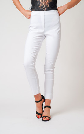 White Pull On Skinny Fit Stretch Trousers by Lady Love London