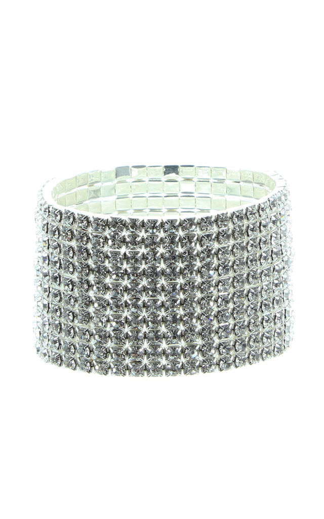 Algol Crystal Cuff Bracelet in Silver by Ruby Rocks Boutique