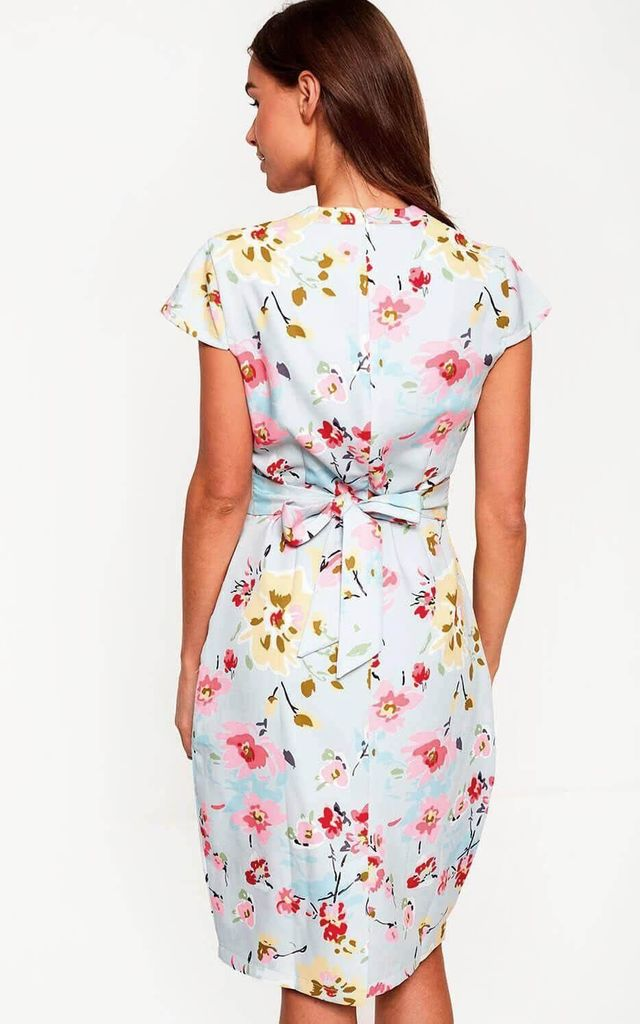 Cap Sleeve Tulip Dress with V Neck in Light Blue Floral Print by Marc Angelo