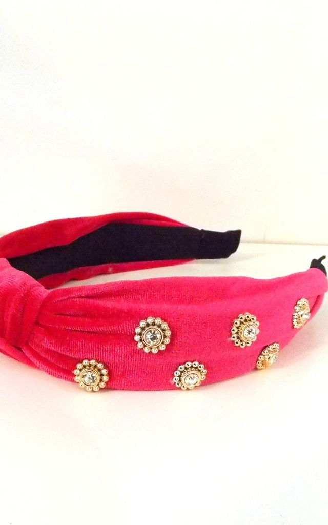 Bright Pink Jewelled Velvet Knot Hair Band by Olivia Divine Jewellery
