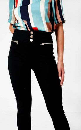 Gold Button Jeggings in Black by Marc Angelo