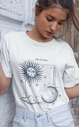 Oversized T Shirt With Feminist Slogan In White Celestial Print by Rani & Co. Product photo