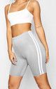 Grey Side Stripe Cycling Shorts by Oops Fashion