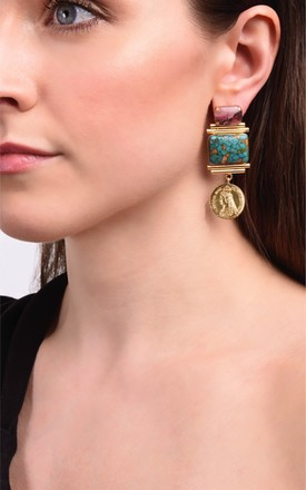 Drop Earrings with Gold Coins, Pink and Green Gemstones by Sami