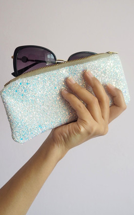 Glitter Sunglasses Case In White Iridescent by Suki Sabur Designs Product photo
