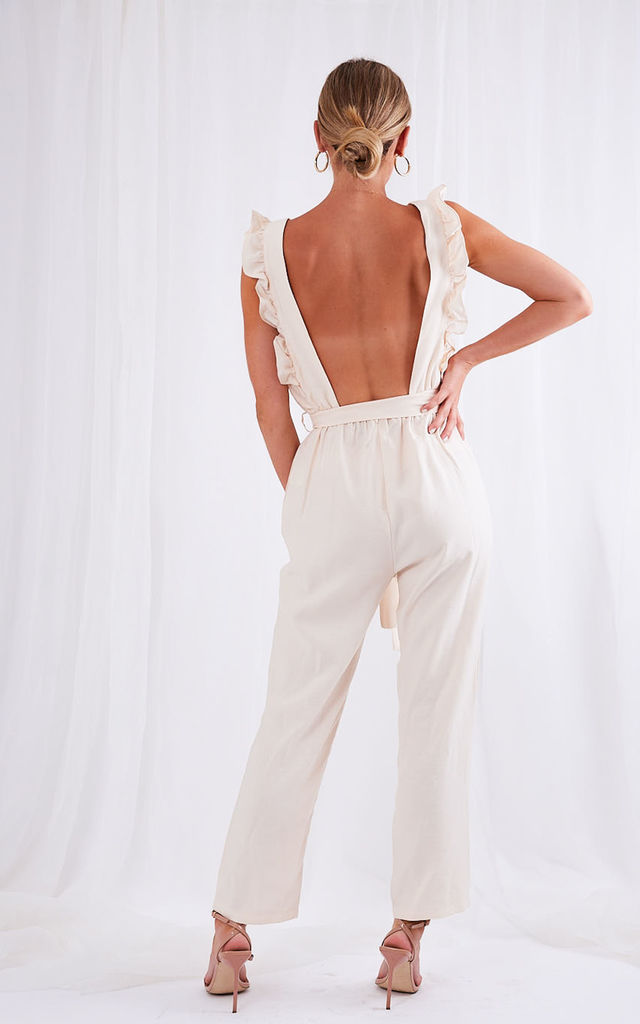 Effie Ruffle Jumpsuit - Cream by Pretty Lavish