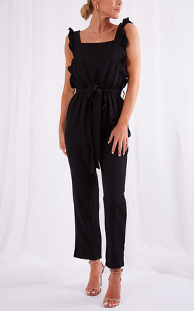 Effie Ruffle Jumpsuit - Black by Pretty Lavish