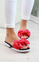 Red Bow Slip On Comfy Sandals by Larena Fashion